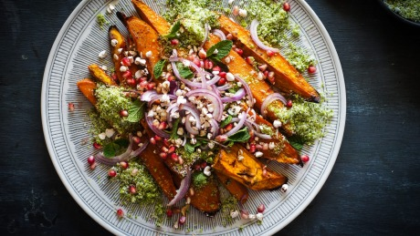 Sweet potato chaat with coconut, mint and lime sambal.
