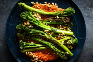 Spanish-inspired vegie side: Roasted broccolini with romesco.