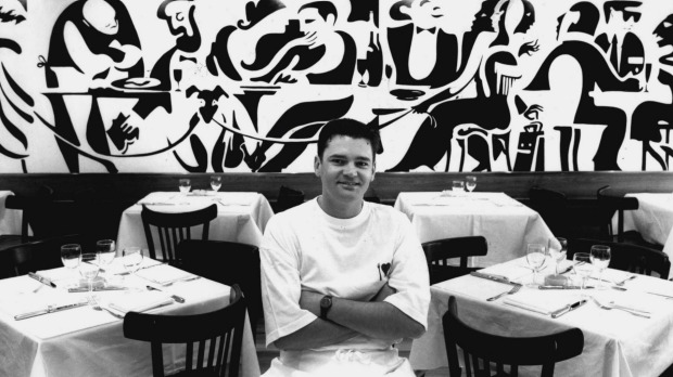 Bistro Moncur's original manager, Peter Nield, pictured at the Woollahra restaurant in 1993.