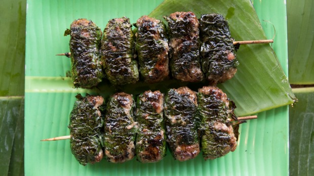 Beef wrapped in betel leaf.