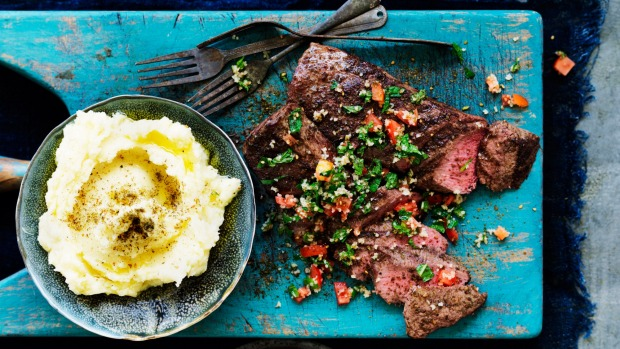 Neil Perry's za'atar crusted lamb fillet with skordalia.