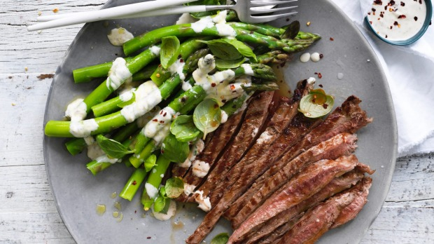 Grilled beef and asparagus counts as a low-carb dish.