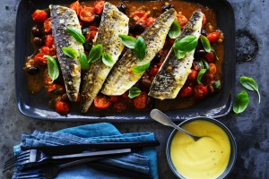 Neil Perry's grilled King George whiting with tomato, basil and olive sauce and aioli