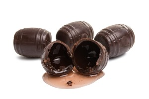 A block of liqueur chocolate contains about eight millilitres of booze.