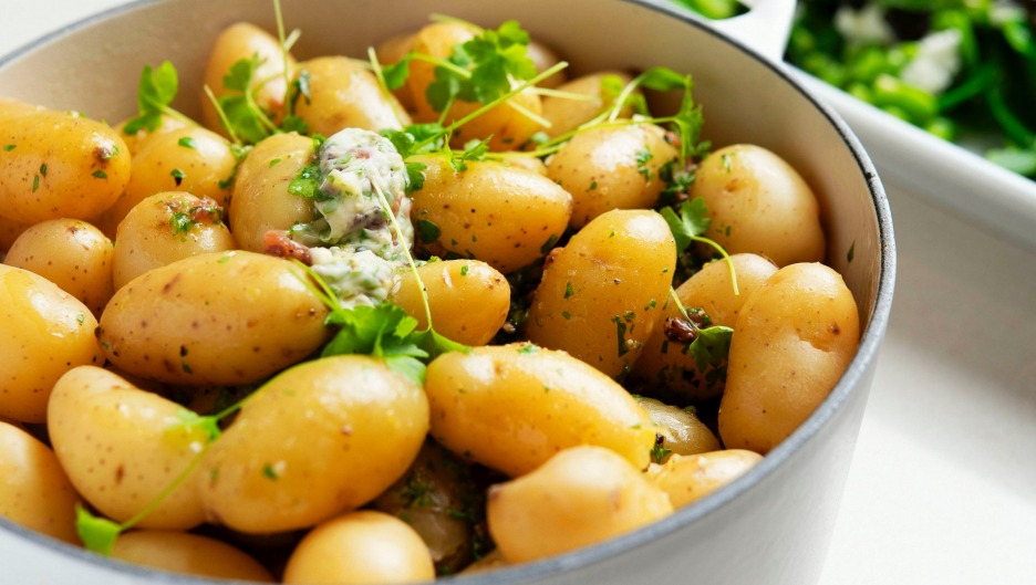 Kipfler potatoes with anchovy, parsley and lemon butter.