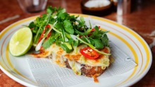Go-to-dish: Grilled cheese and house green kimchi open sandwich, $14.50.