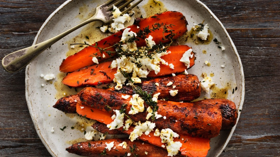 Honey-roasted carrots with feta.