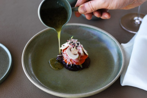 New Restaurant of the Year: Laura, Merricks, Victoria. (Pictured: Glazed Benton Rise lion's mane mushrooms, abalone, ...