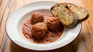 Nonna's meatballs are served with or without pasta.