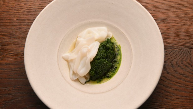 Go-to dish: Arrow squid and parsley braised in clam stock.