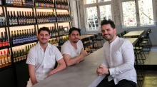 Brothers Sam and Tom Peasnell and Adam Goldblatt at their new restaurant Cheek in Swanston Street.