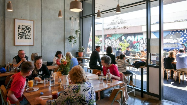 Homely: Small Graces cafe in Footscray features a large communal table.