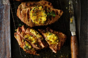 Adam Liaw's lamb steaks with caramelised onion butter.