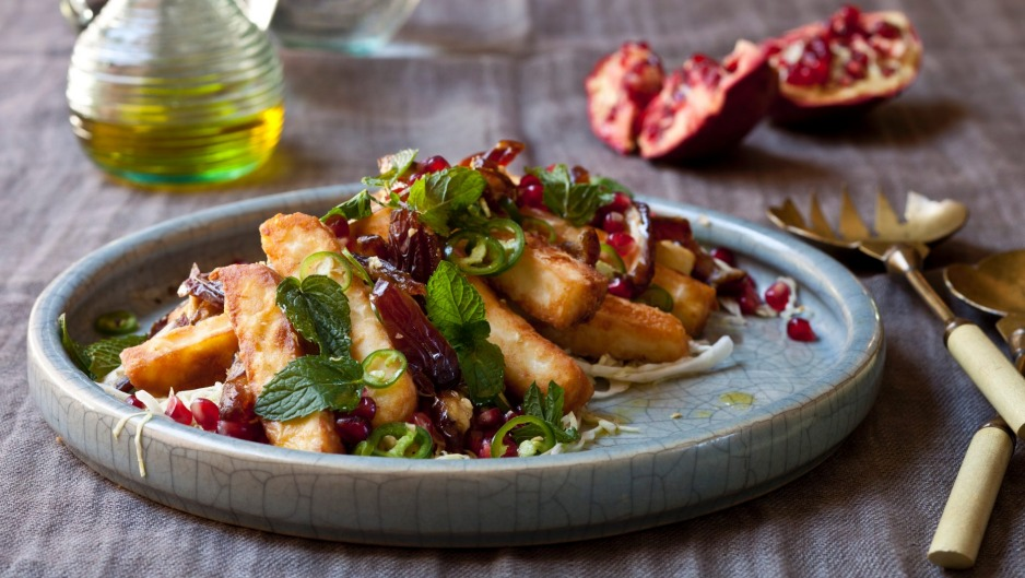 Fried haloumi with white cabbage, date and pomegranate salad.