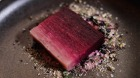 Compressed beetroot dish at Lesa for Melbourne trends video. Visit Victoria and Good Food.
