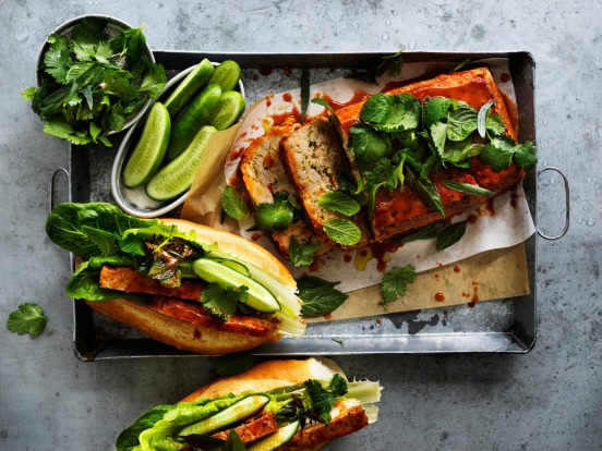 Banh mi meets meatloaf: Pack Helen Goh's chicken and lemongrass meatloaf, plus baguettes, lettuce, cucumber and herbs ...