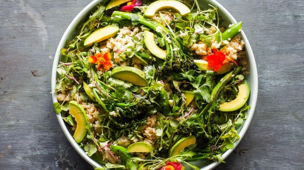 Japanese-inspired miso rice and charred greens salad.