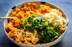 This comforting rice dish is inspired by the west African favourite, jollof.