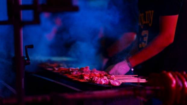 Meats sizzle at the Sydney Night Noodle Market.