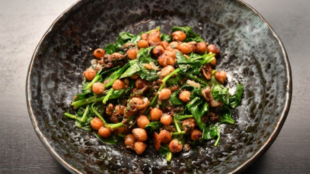 Spiced chickpeas and spinach.