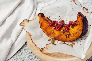 Roasted Kent pumpkin, blood orange, thyme and spiced pepitas atHalf Acre.