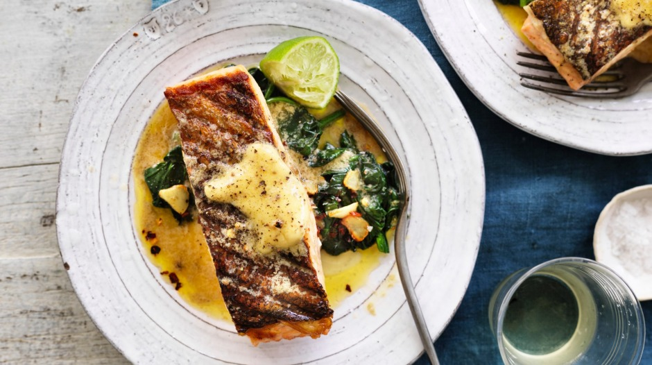 Neil Perry's barbecued salmon and wilted spinach with anchovy butter.
