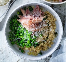 Jill Dupleix's green pea rice with ham hock and mustard.
