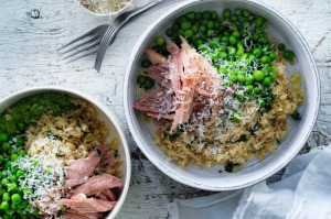 Jill Dupleix's green pea rice with ham hock and mustard recipe.