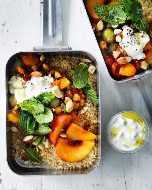 Jill Dupleix's picnic cous cous with peaches and cucumber yoghurt <a ...