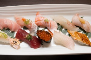 A selection of nigiri and sashimi.