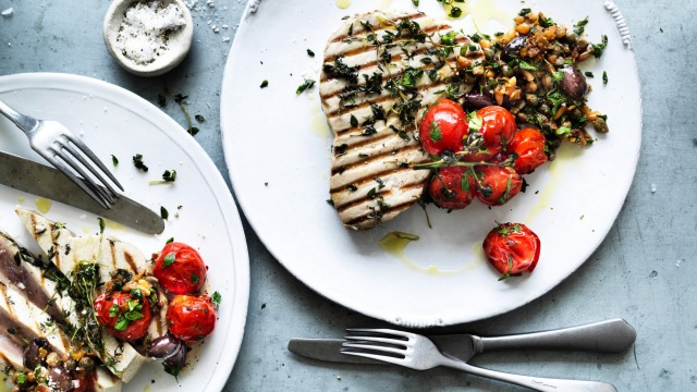 The Italian-style tomato and pinenut salsa pairs beautifully with lean fish.