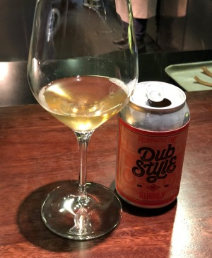 Dub Style Bubbly in a can at Momofuku Seiobo.