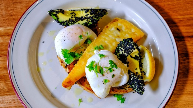 Grilled saganaki with avocado and poached eggs.