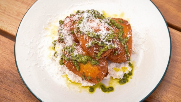 Savoury Italian doughnuts with pesto and pecorino.