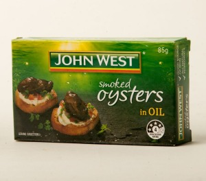 John West smoked oysters in oil.