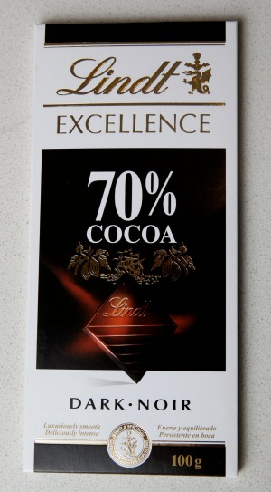 Lindt 70 per cent dark chocolate.