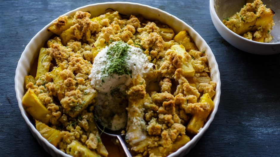 Serve this tropical crumble with lime leaf dust and coconut gelato.