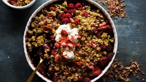 Strawberry raspberry balsamic crumble.