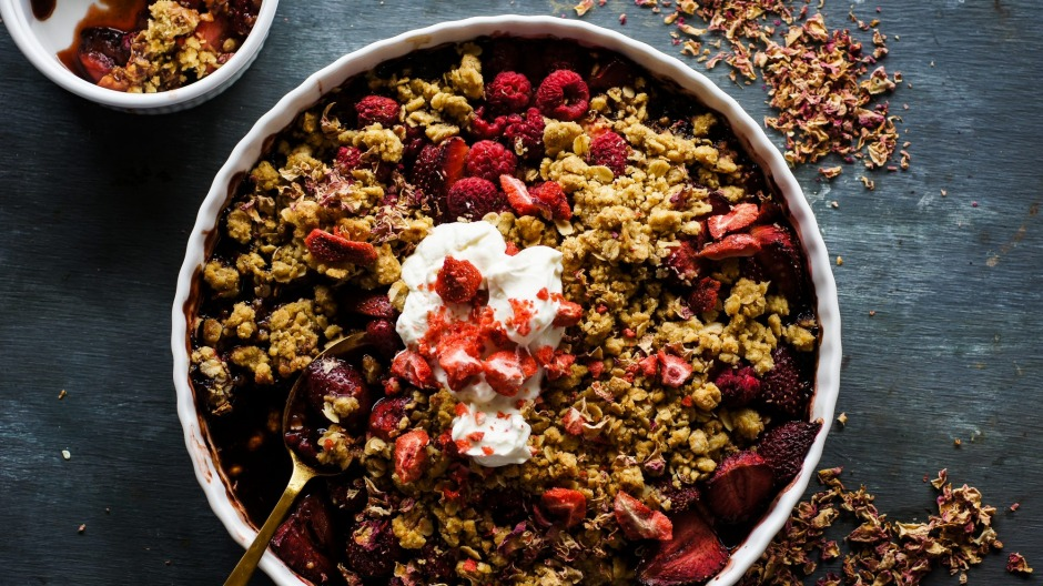 Do your civic duty and make this strawberry raspberry balsamic crumble.