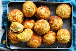 Split and butter these savoury muffins straight from the oven.