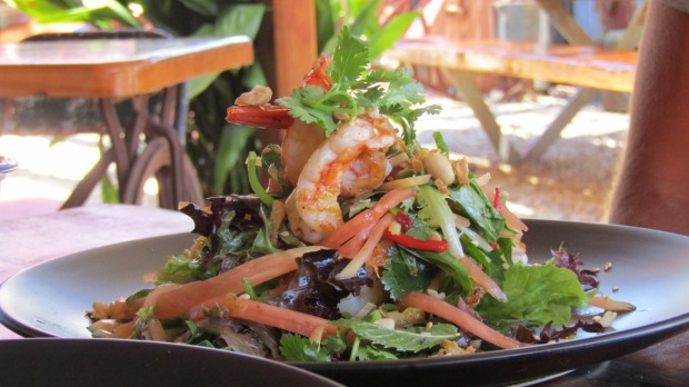 Prawn and papaya salad at the Painted Horse cafe in Sofala.