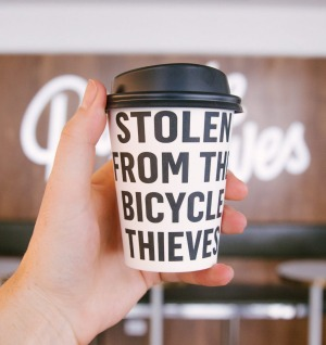 An Instagram-friendly takeaway cup from Bicycle Thieves.