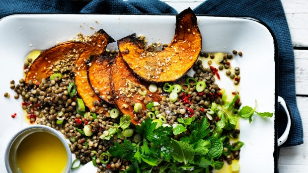 Neil Perry's warm lentil salad with pumpkin and chilli.