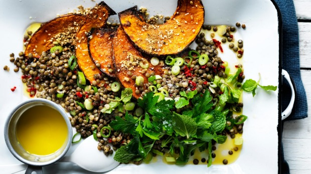 Neil Perry's warm lentil salad with pumpkin and chilli is a good one for budding vegans.