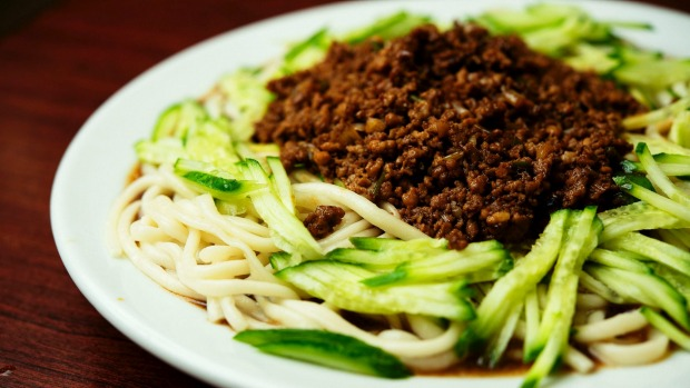 Cold noodles with cucumber and cumin lamb at Handmade Noodle Bar.