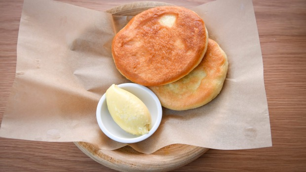 Fluffy griddled flatbreads and smoke-infused butter.