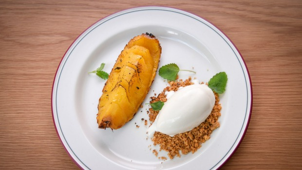 Grilled pineapple and pecan crumble.