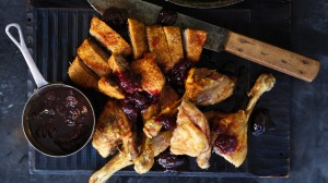 Neil Perry's roast duck with cherries.