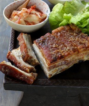 Koludrovic's Bo Sammy is like a cross between Korean pork belly bo ssam (pictured) and tuna poke.