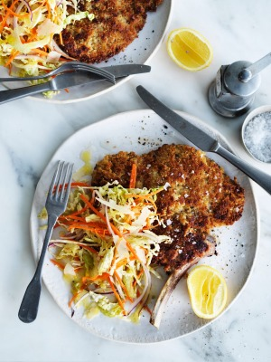 Neil Perry's veal cotoletta with Italian-style coleslaw.